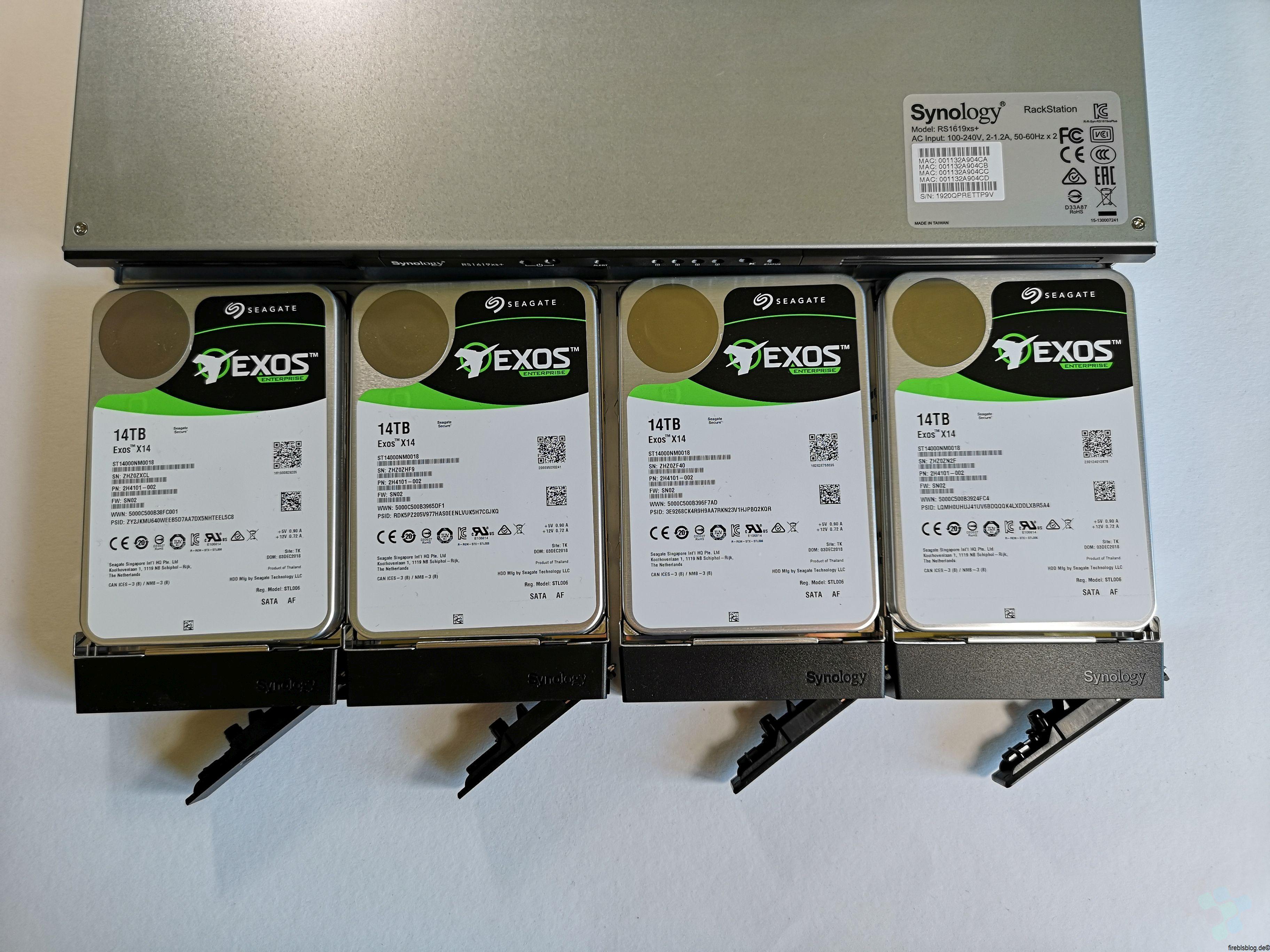 56TB im Doppeltest  4x Seagate Exos X14 14TB in der Synology